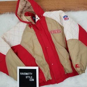Vintage Starter 49ers NFL Jacket Coat Size Large